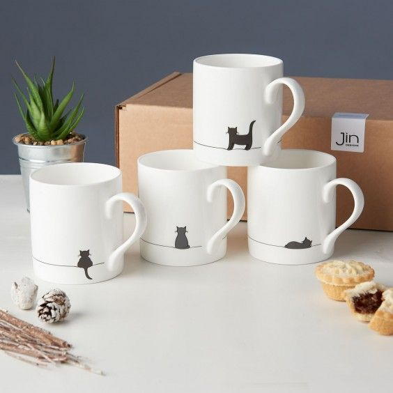 Cat Mugs, Set of Four