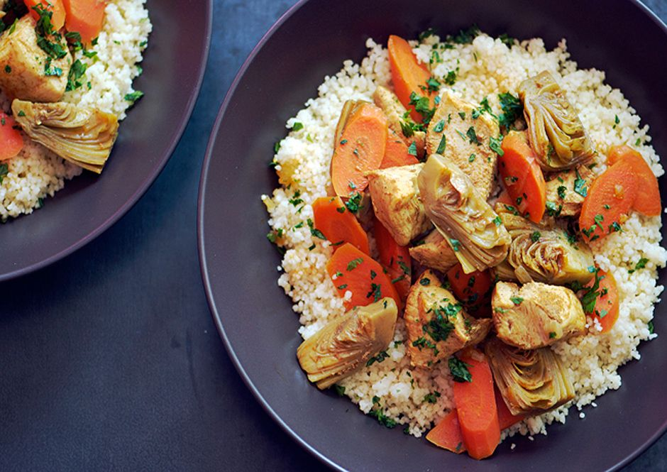 Moroccan Chicken Stew with Artichoke Hearts and Carrots!