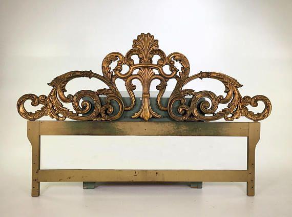 Vintage Ornate Hollywood Regency Rococo Iron Gold Leaf King Headboard We Can Modify By Raising