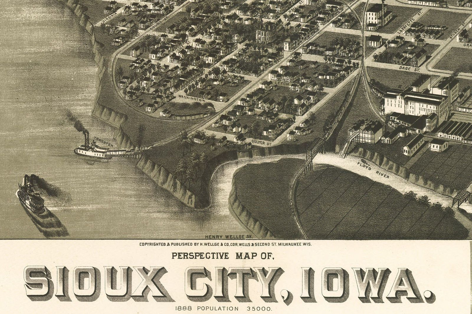 1888 Sioux City Iowa City View Map Hand Drawn Survey Map Detail 22