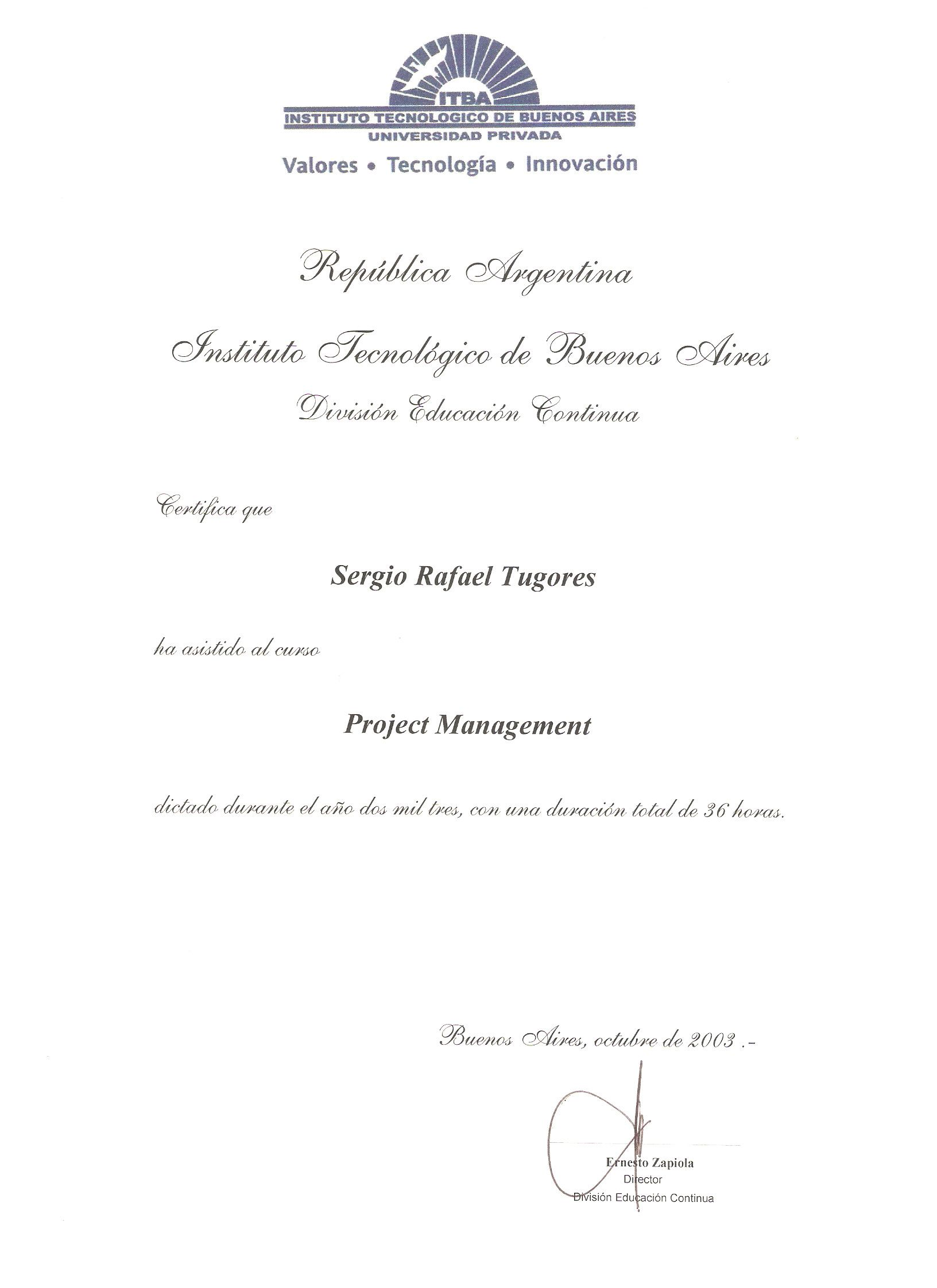 2003 - Proyect Management - ITBA
