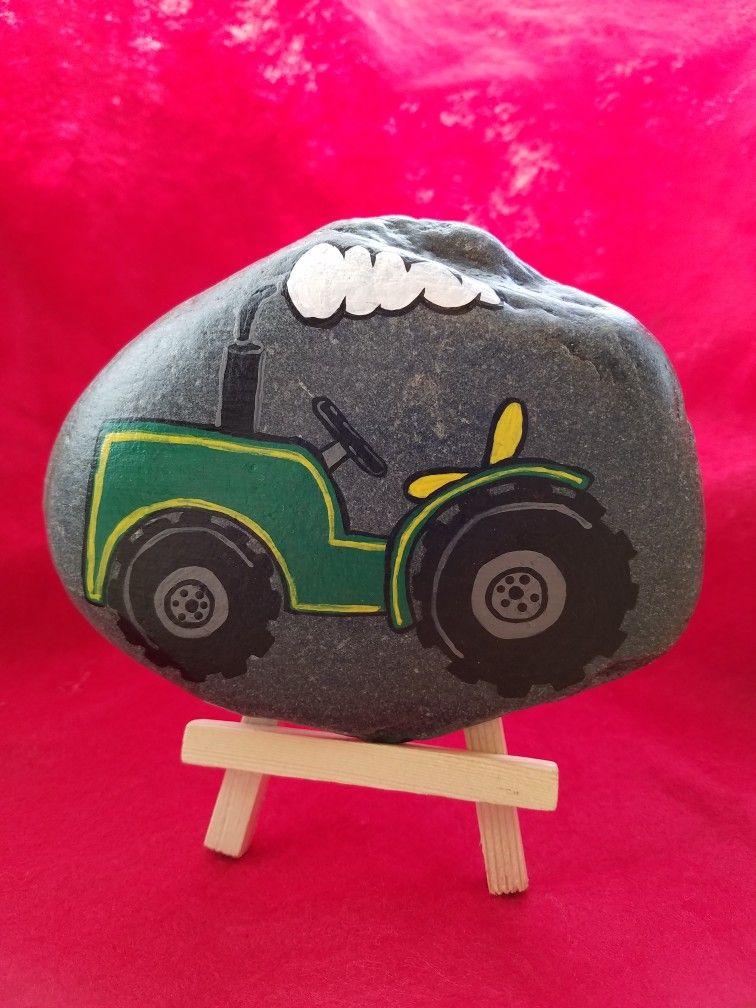 Tractor Clovisrocks Paintedrocks Rocks Tractor Pebblesbypam Painted Rocks Kids Painted Rocks Rock Crafts
