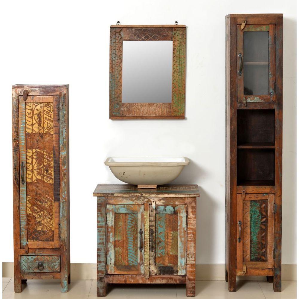Bathroom cabinet set reclaimed wood vintage vanity mirror