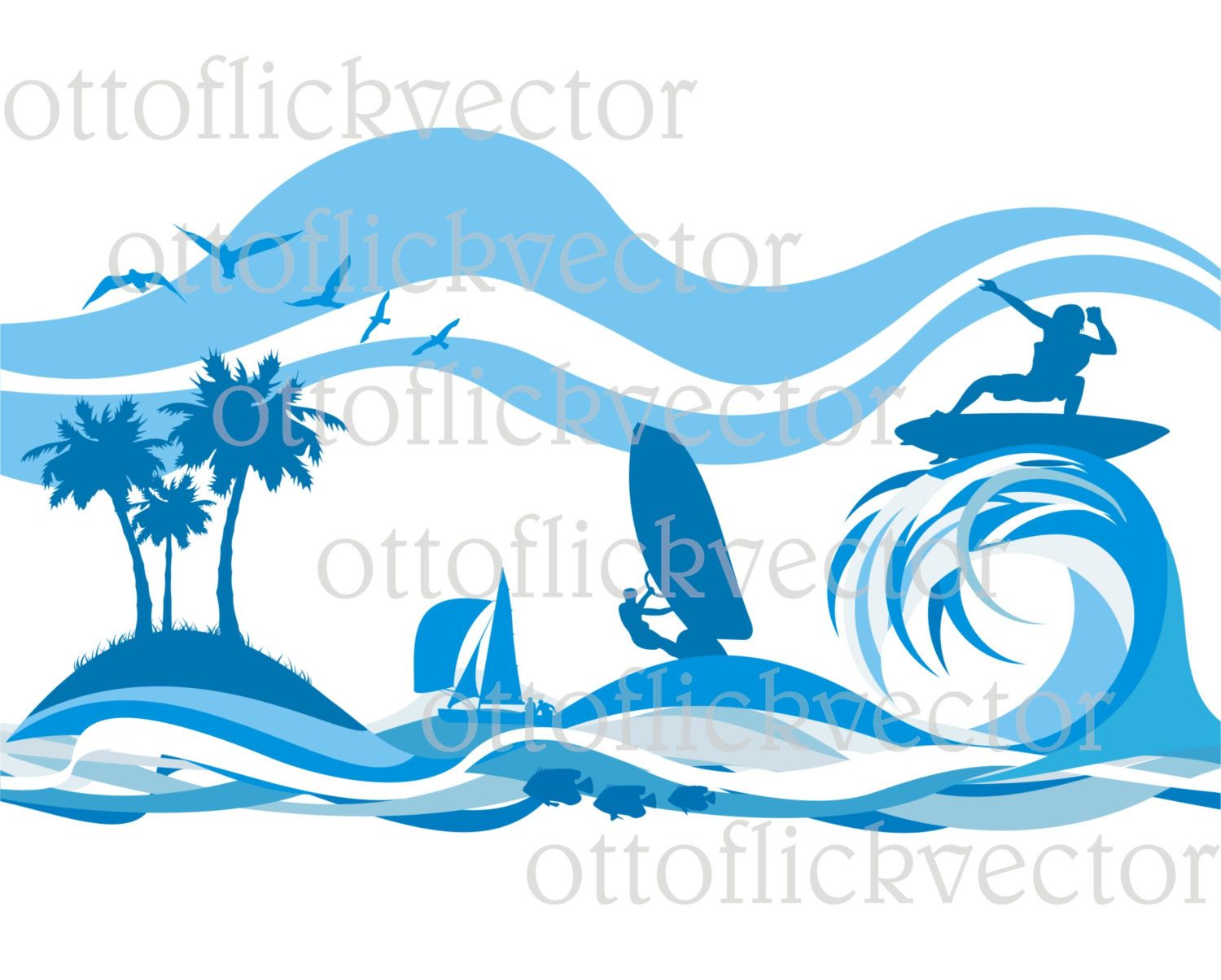 VACATION AN A TROPICAL vector clipart, water sports silhouettes ...
