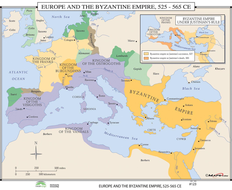 World History Wall Maps Europe Byzantine Empire Products - Ancient rome map byzantium