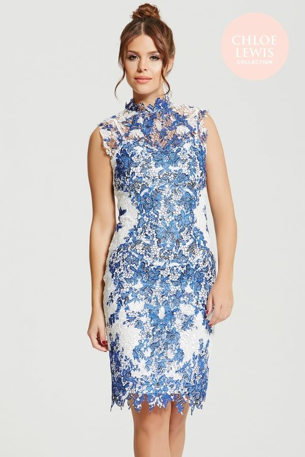 Chloe Lewis Collection Blue And White Crochet Lace Dress