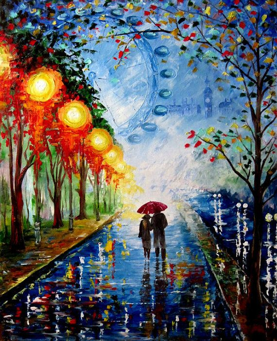 A Couple Walking In The Night Rain Original By