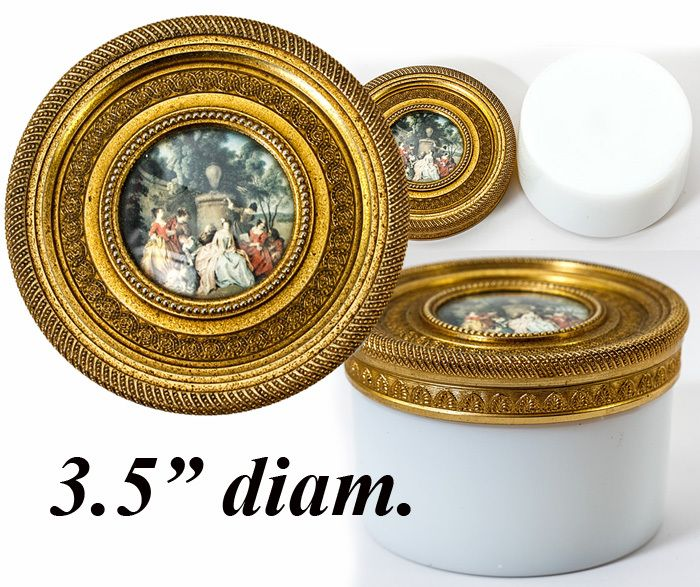 Antique Baccarat White Opaline Vanity or Powder Jar, Dore Bronze Lid with Painting in Miniature