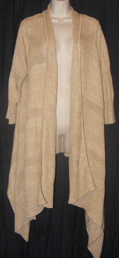Lauren Ralph Lauren Gold Metallic Asymmetrical Open Front Cardigan ...