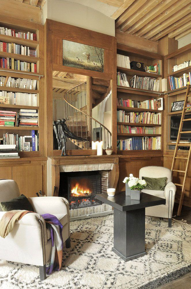 Libraries For Living Room: Cozy French Country Home With Big Library And Fireplace
