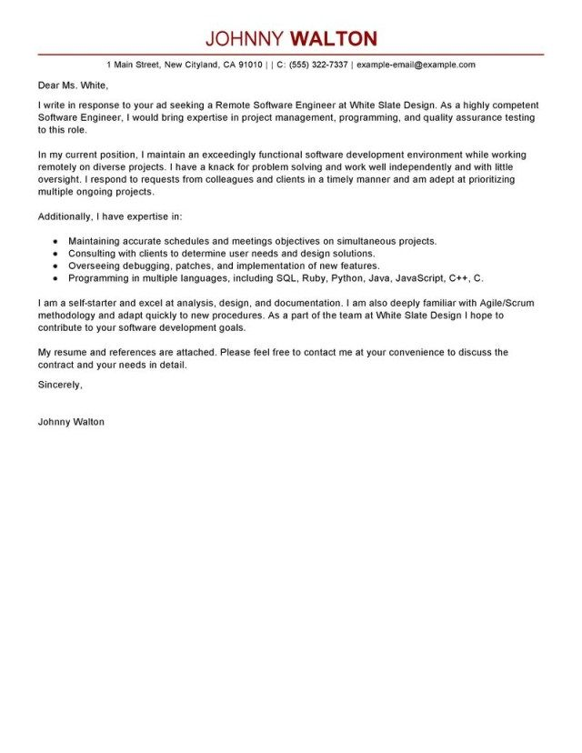 25 Software Engineer Cover Letter Cover Letter Examples For Job