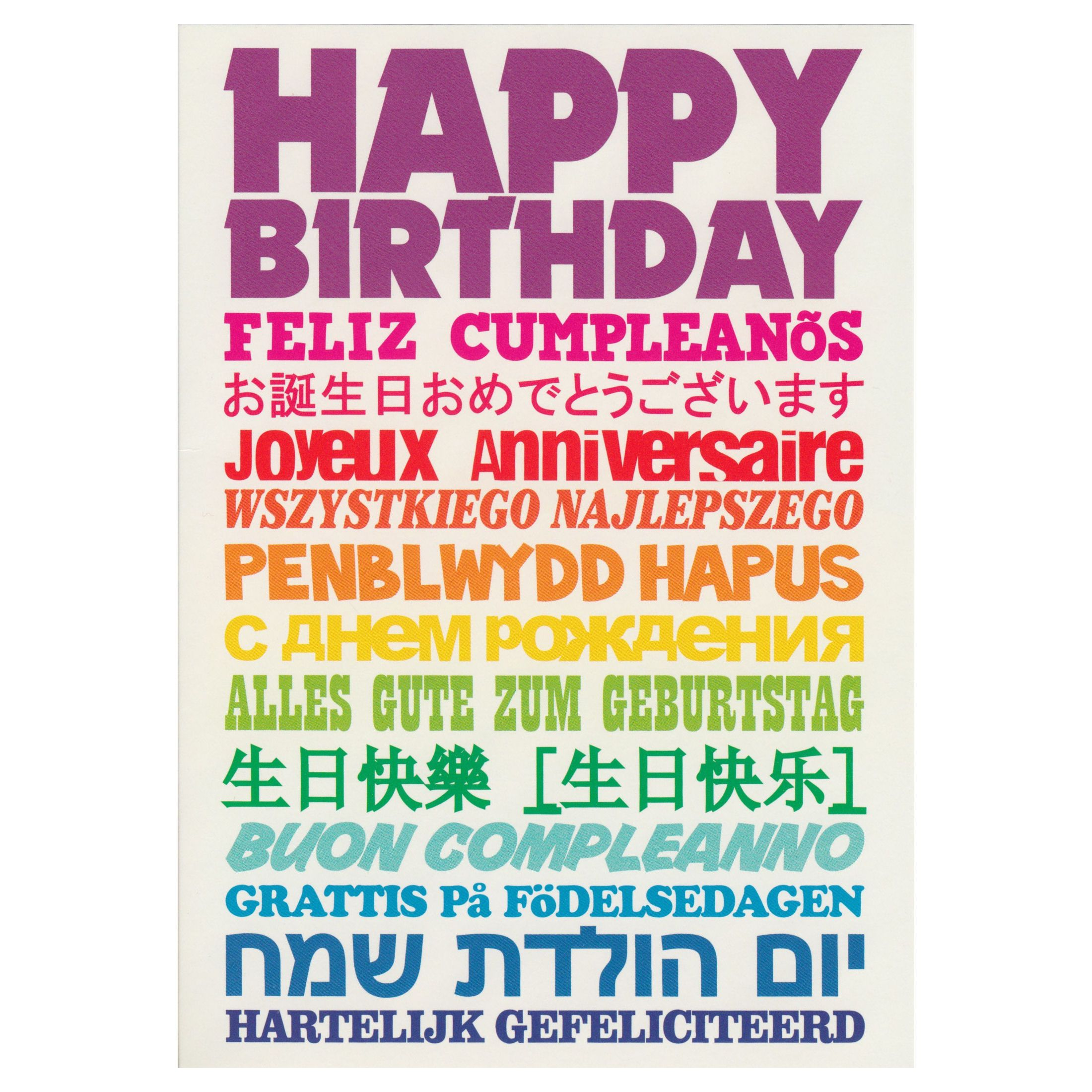 Happy Birthday Feliz Cumpleanos Joyeux Anniversaire Greeting