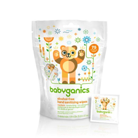 Babyganics Alcohol Free Hand Sanitizing Wipes Mandarin 75 On The