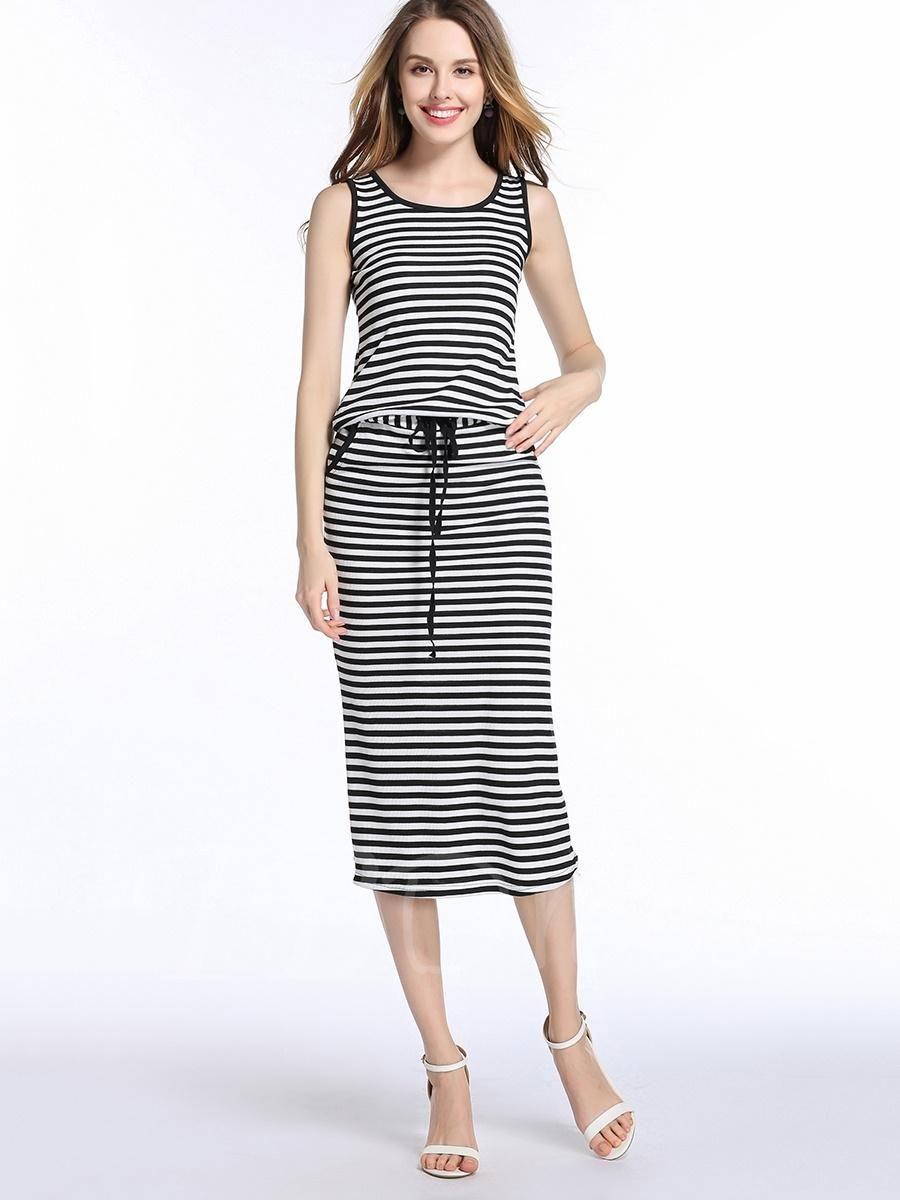 Adorewe tbdress sleeveless tie stripe womens maxi dress adorewe