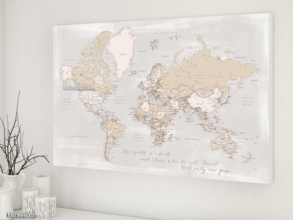 36x24 rustic style world map canvas print the world is a book world map canvas print in rustic distressed style with capitals and main cities travel lovers idea you can use this piece as travel pinboard or push pin gumiabroncs Gallery