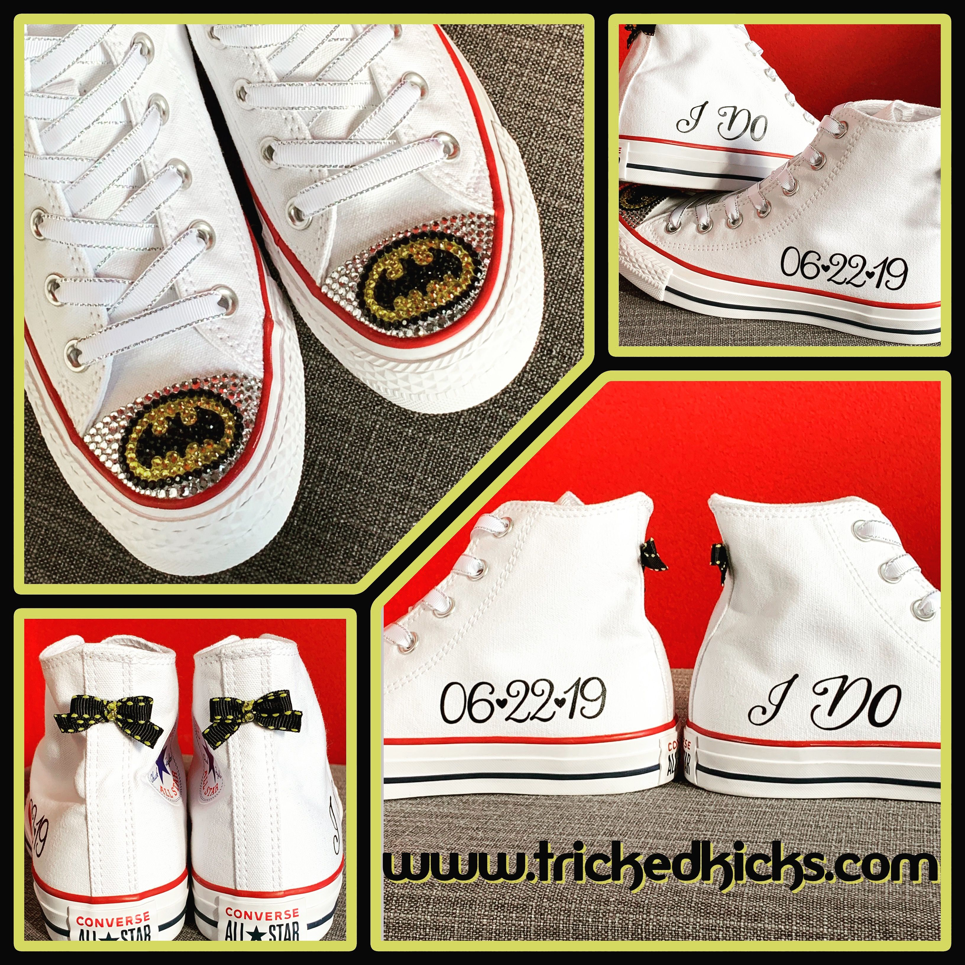 White high top Converse shoes with Batman bling, custom