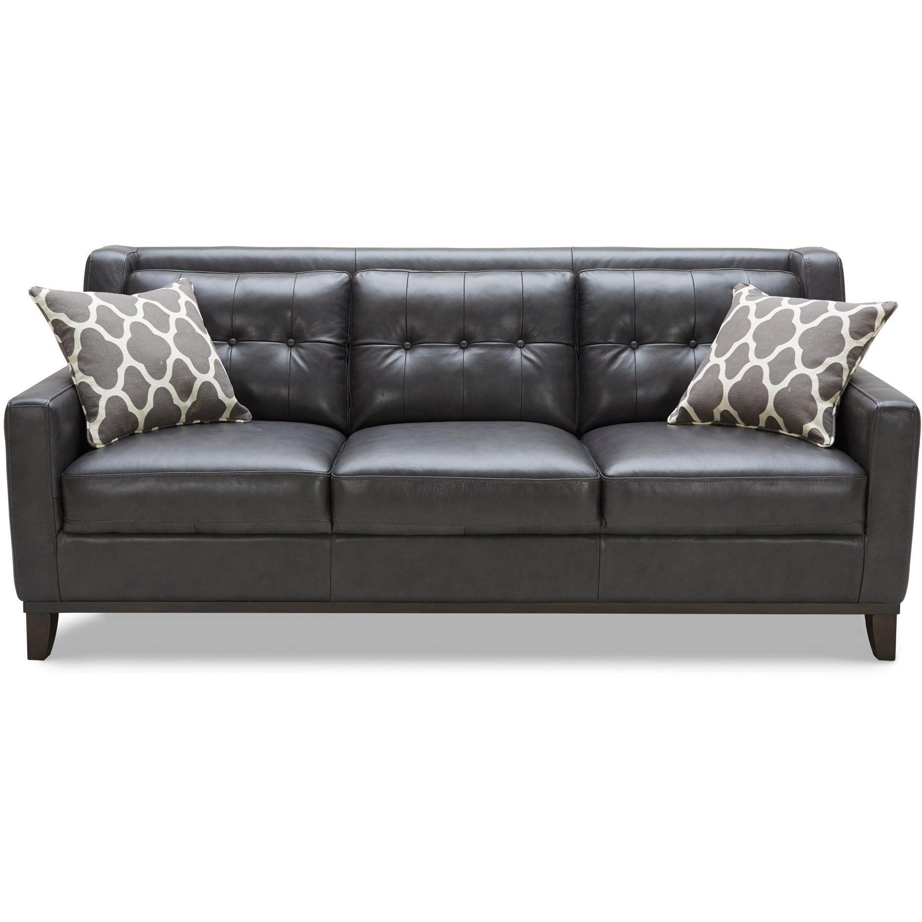 Contemporary Charcoal Leather Sofa Nigel Rc Willey Furniture Store Contemporary Leather Sofa Contemporary Sofa Grey Leather Sofa #rc #willey #living #room #furniture