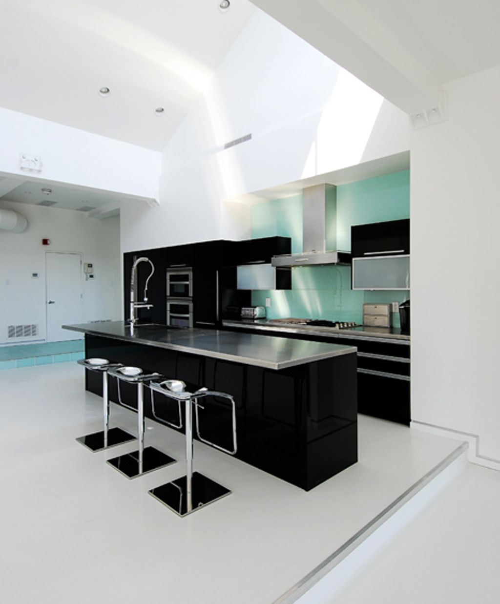 Modern White And Black Kitchen modern minimalist kitchen for apartment | interior | pinterest