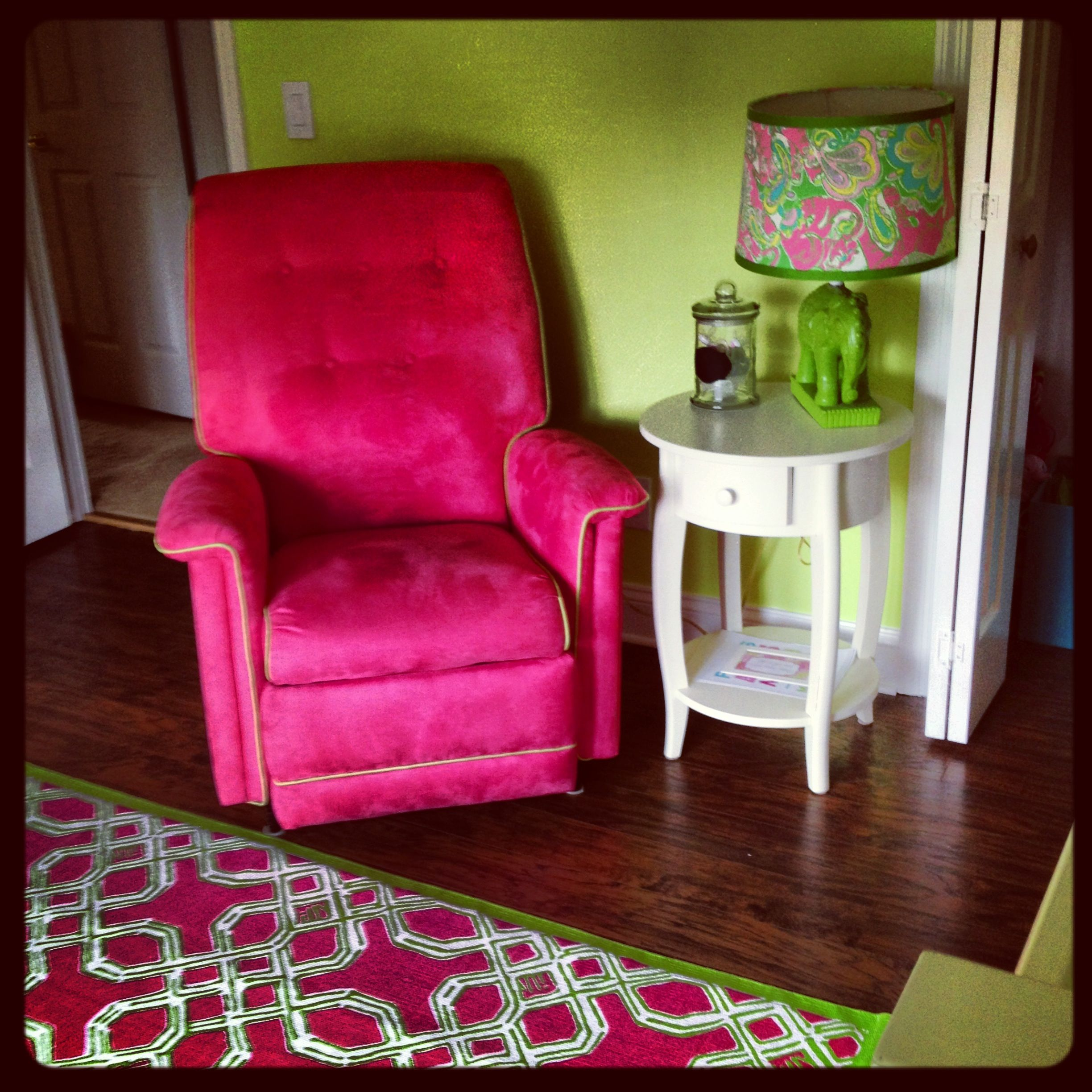 Reupholstered recliner pinkandgreen pbk end table DIY elephant