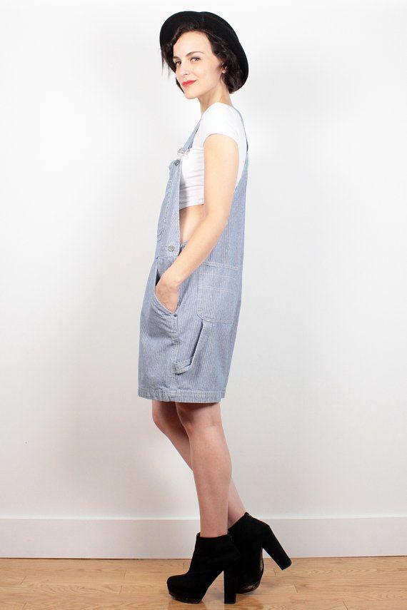 Vintage 90/'s Blue Denim Stretch Tight Romper Knee Length Dress