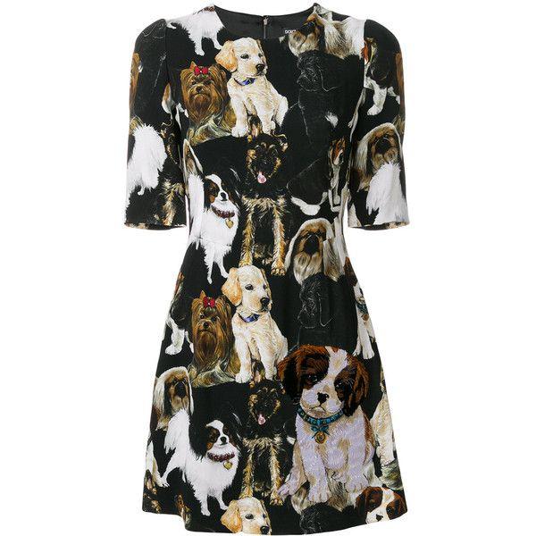 321bd883 Dolce & Gabbana puppy print mini dress (7.355 BRL) ❤ liked on Polyvore  featuring dresses, black, print mini dress, short sleeve dress, form  fitting dresses ...