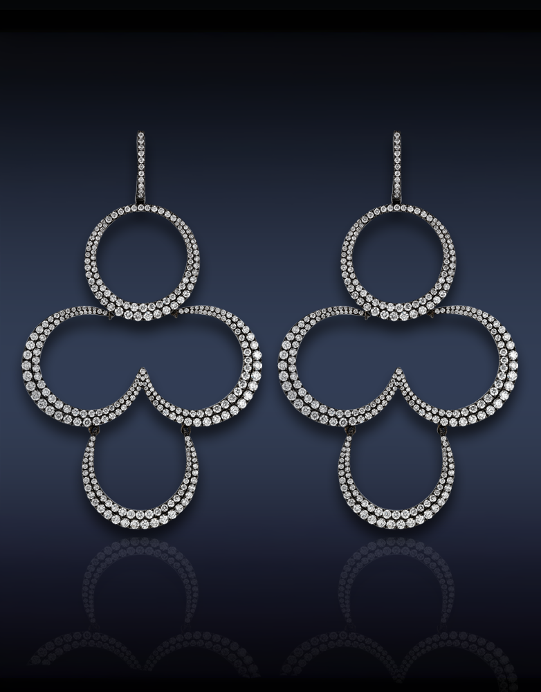 Jacob and Co. Clover Diamond Chandelier Earrings
