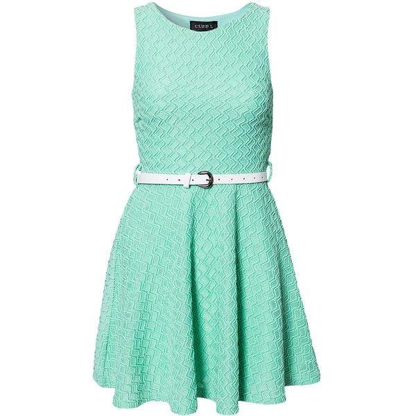 Club L Lurex Jaquard Belted Skater Dress ($42) ❤ liked on Polyvore featuring dresses, vestidos, mint, party dresses, womens-fashion, mint skater dress, green skater dress, skater skirt, circle skirt and sleeveless skater dress