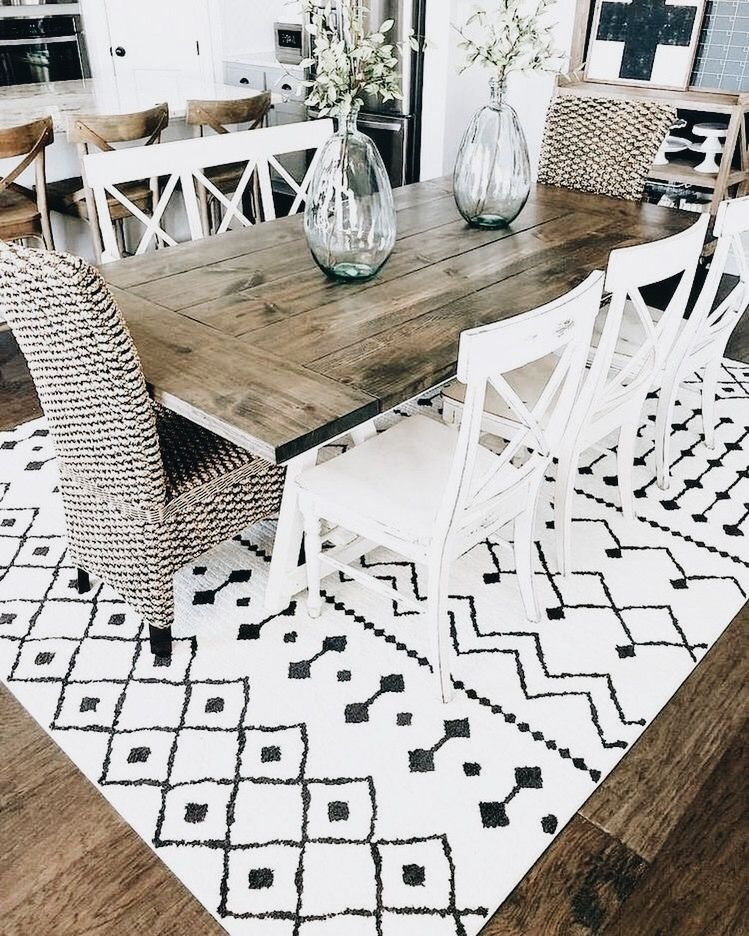 Rustic Boho Dining Room In Love With That Mud Cloth Rug Home Farmhouse Dining Rooms Decor Modern Farmhouse Dining Room Modern Farmhouse Living Room Decor #rustic #boho #living #room