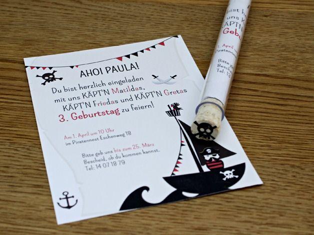 pirateneinladung als flaschenpost, 6 stück von feierschick auf, Einladung