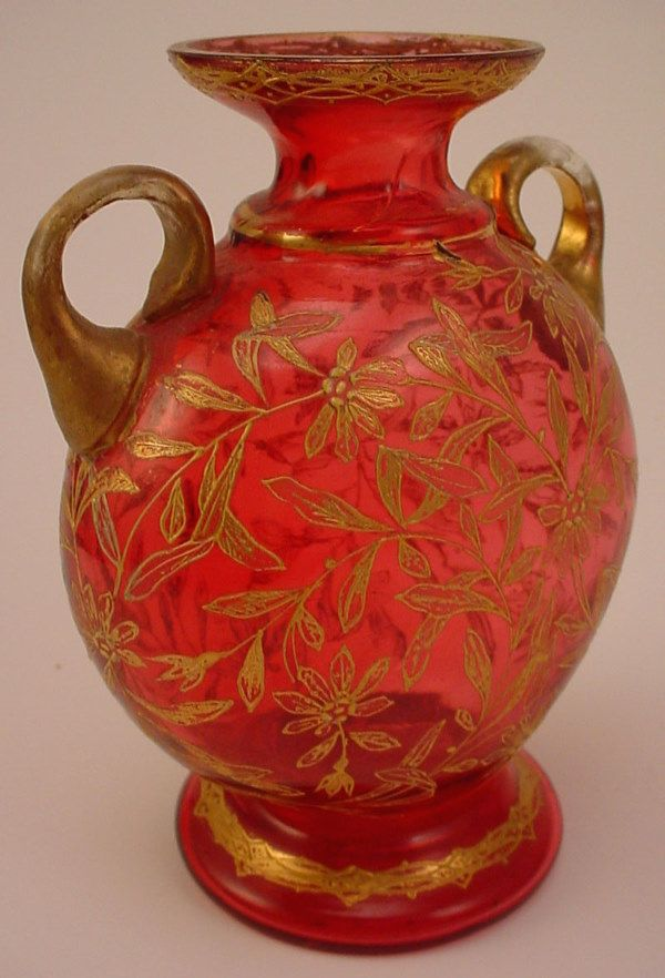 Moser type Blown glass two handled Vase