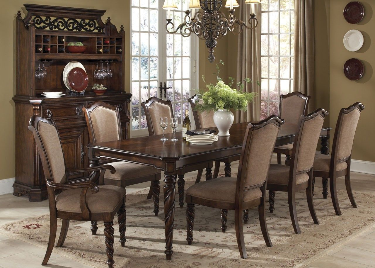 Beautiful Formal Dining Room Set In Brownstone Finish