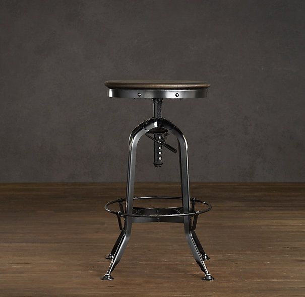Vintage Toledo Barstool Distressed Black from Restoration Hardware