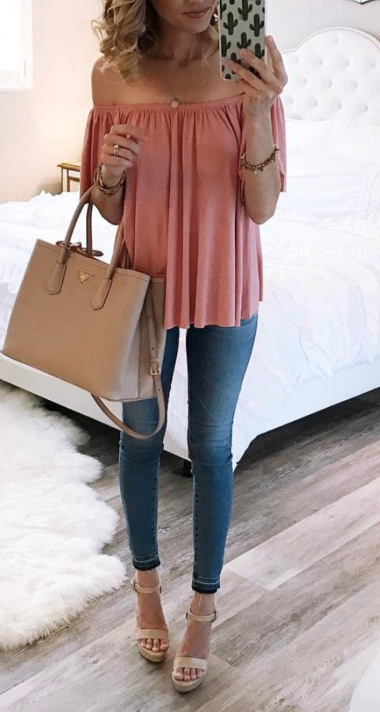 ac09bb767ecc1f Off the shoulder top   Daughter's Duds in 2019   Fashion, Outfits ...