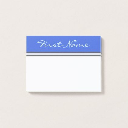 Basic Royal Blue Background w/ Light Cyan Name Post-it Notes
