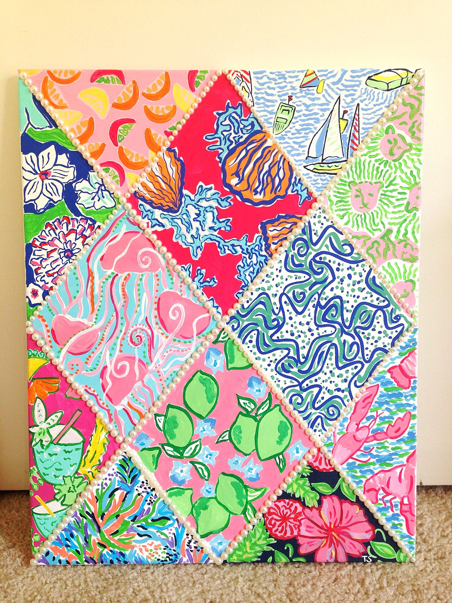 Lilly Pulitzer Inspired 12 Print Canvas With Pearls Diy