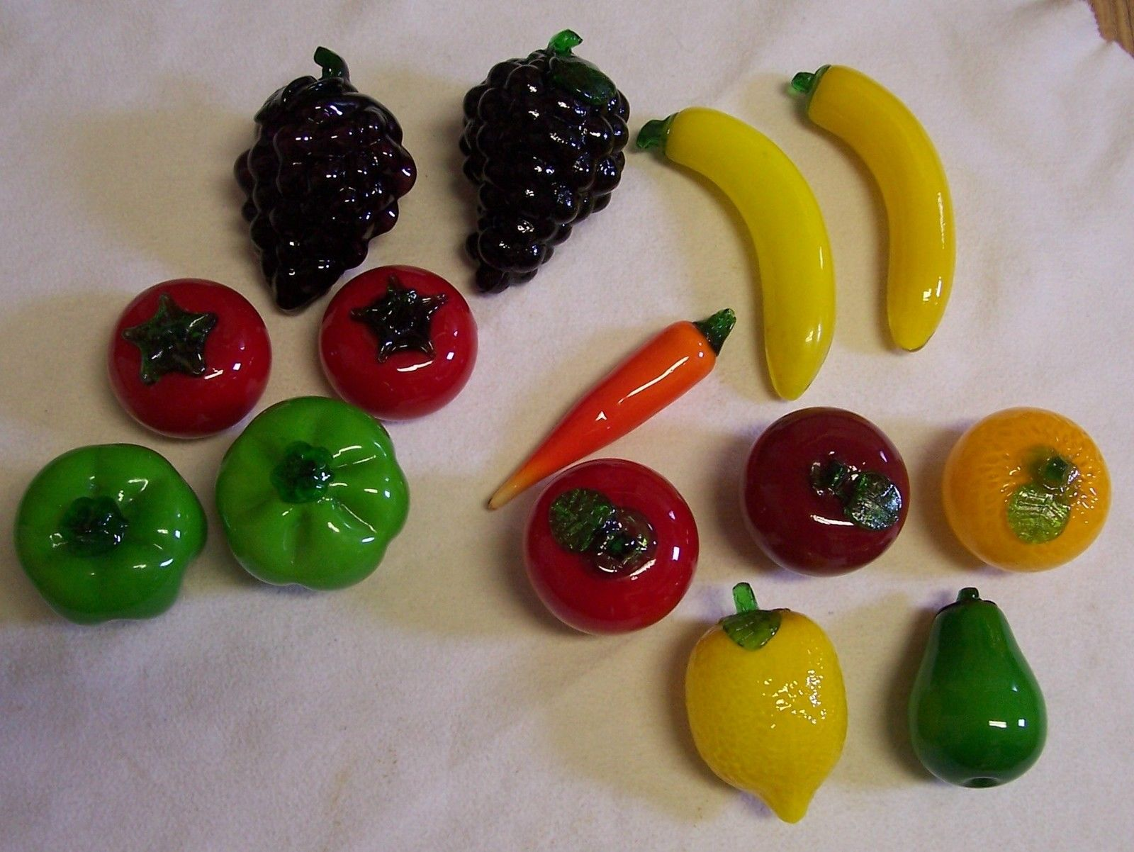 Vintage Mirano Style Art Glass Fruits And Vegetables 14 Pieces 5 Duplicates Glass Art Fruit Vegetables