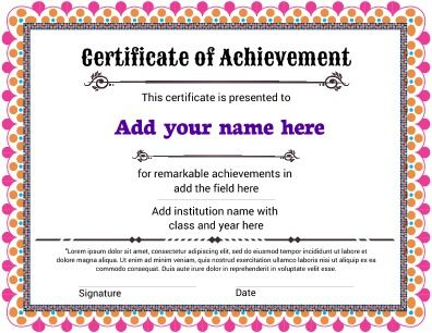 Certificate Of Achievement Featuring A Joyful Look For That Fun