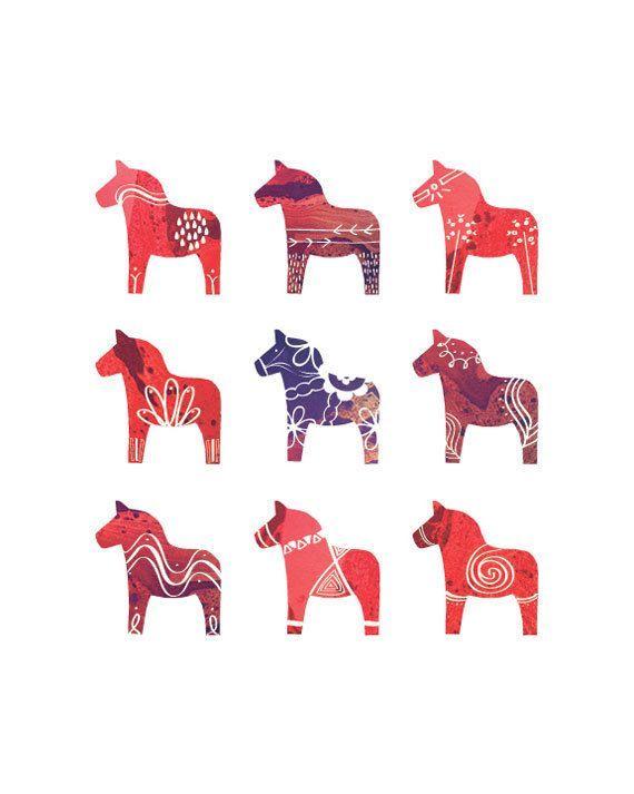 Scandinavian Christmas Dalahast Dala Horse Dala Horse Scandinavian Print Prints
