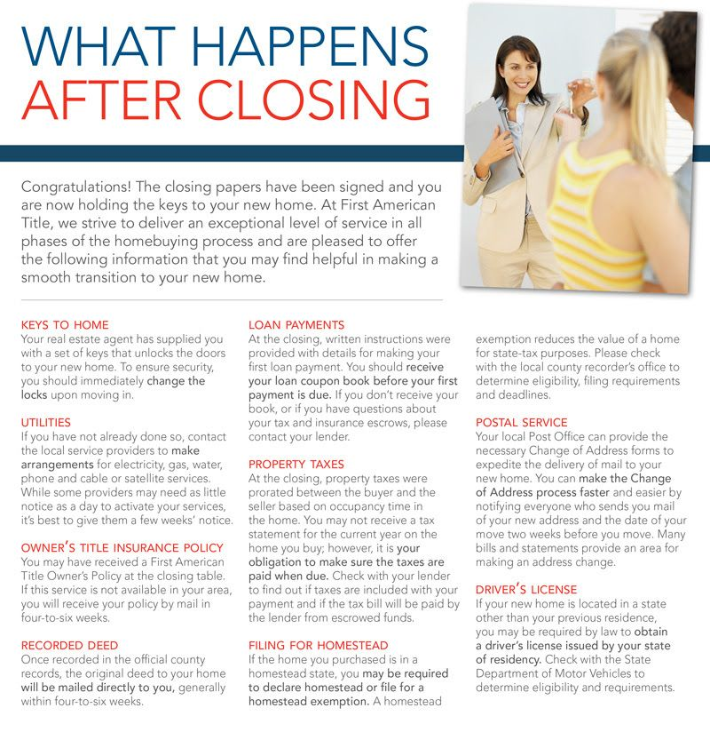 What Happens After Closing | Real estate buyers, Home ...
