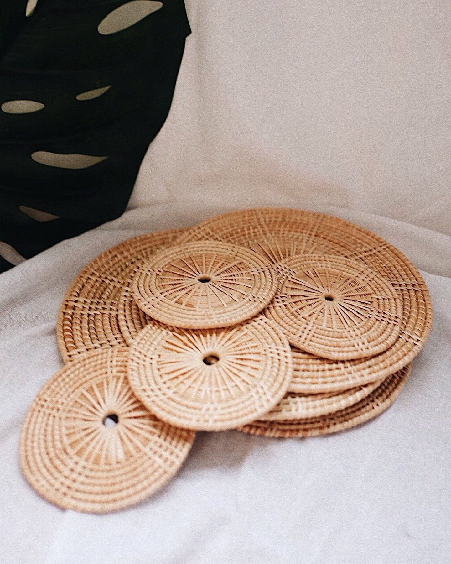 Ivy Placemat Coaster Table Set Of 4 Woven Woven Placemats Boho Style Room