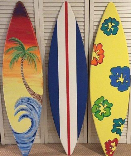 5ft wood surf surfboard stripe flower palm tree tiki bar for Surfboard bar top ideas