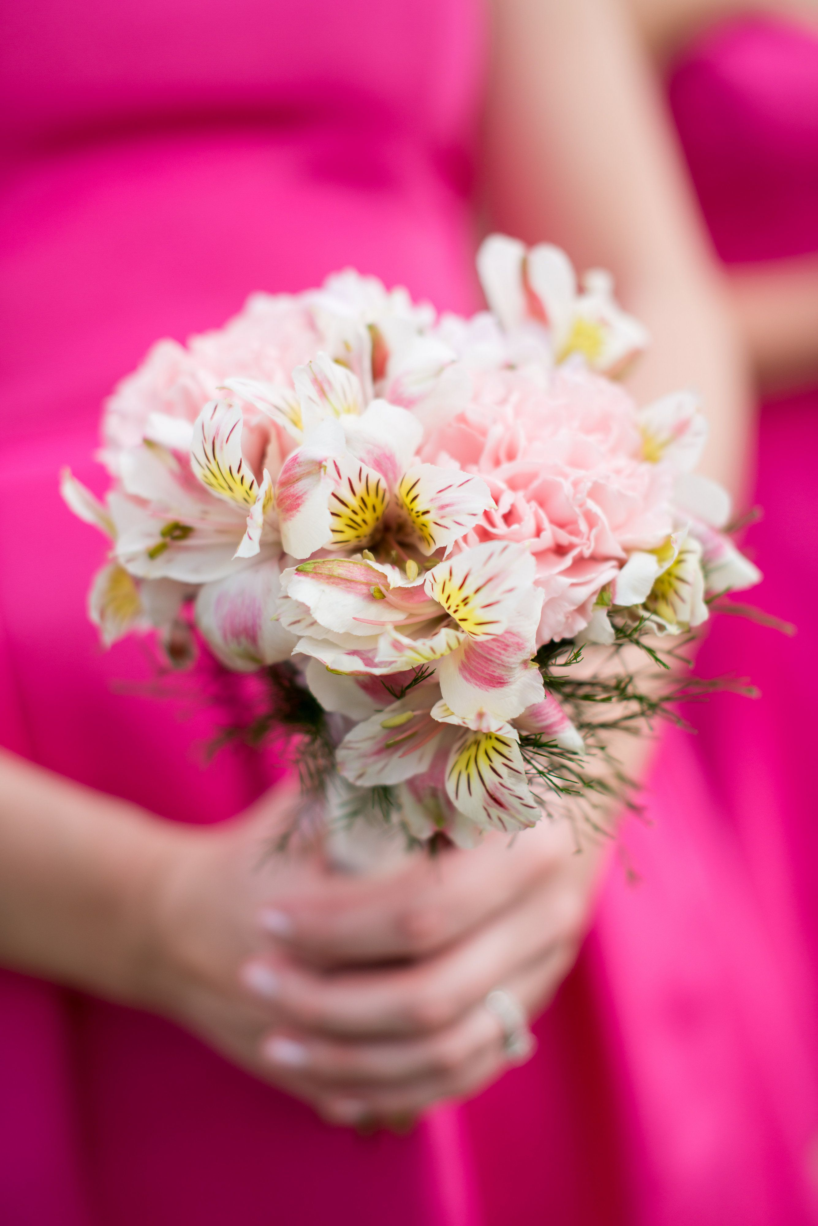 Pink Alstroemeria and Carnation Bouquet | Bridal Party flowers ...