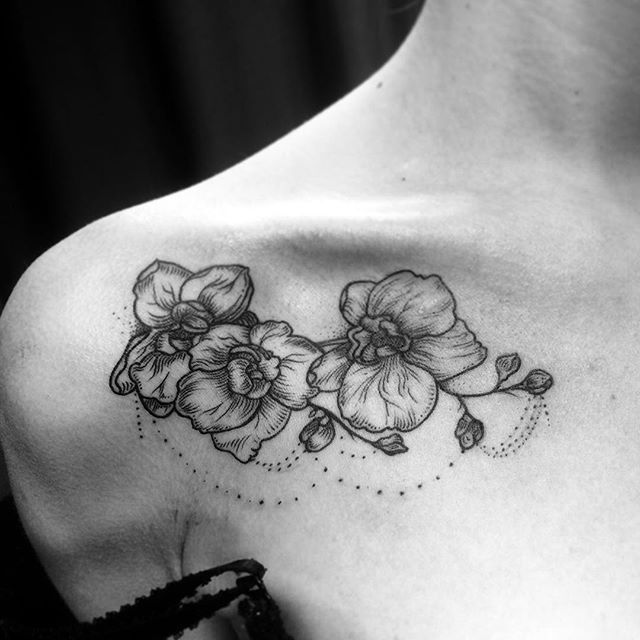 orchids for bear tattoo | Orchid tattoo, Black tattoos ...