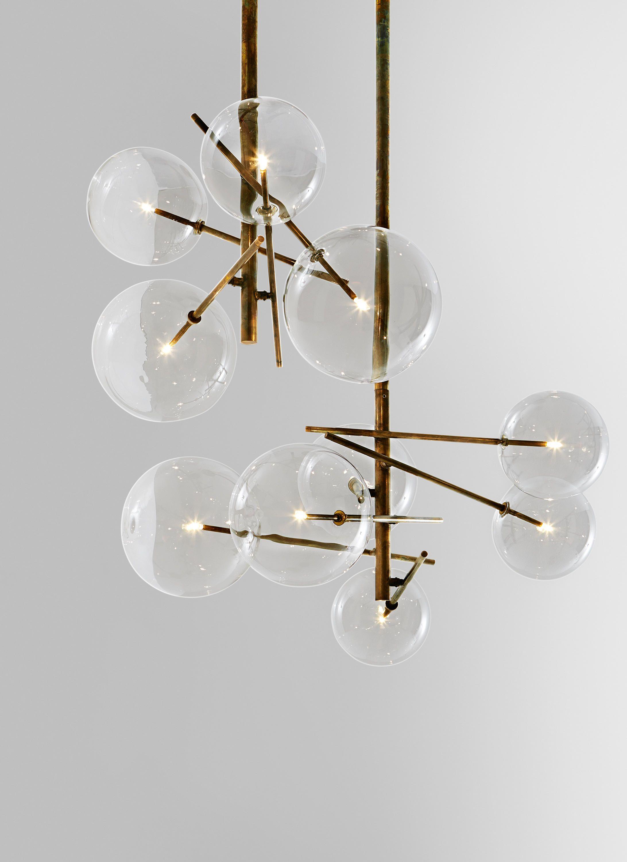 Pendellampe Mit Halogen Punktformiger Lichtquelle 20 Watt Geblasene Klar Glaskugel Metallteile Messing Handbruniert Lampen Design Lampen Innenbeleuchtung