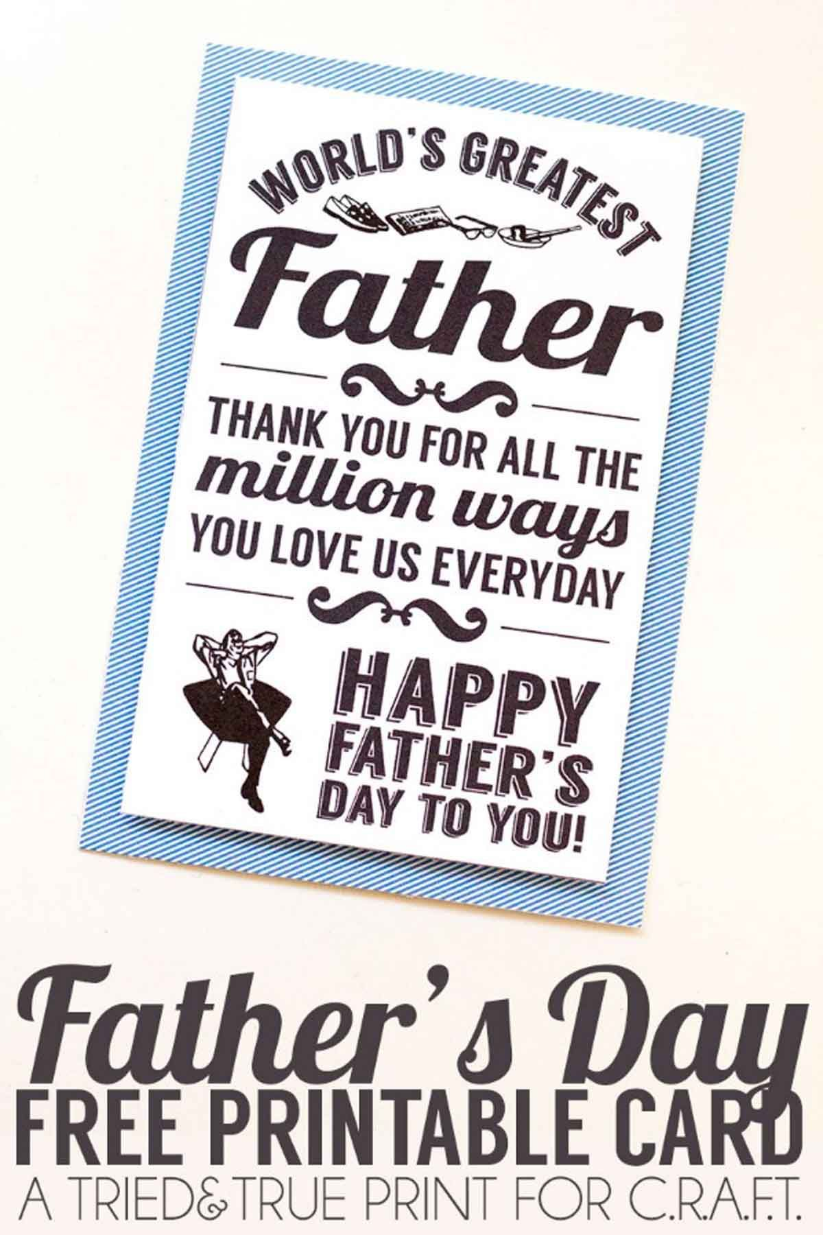 Father S Day Cards To Print For Husband Father