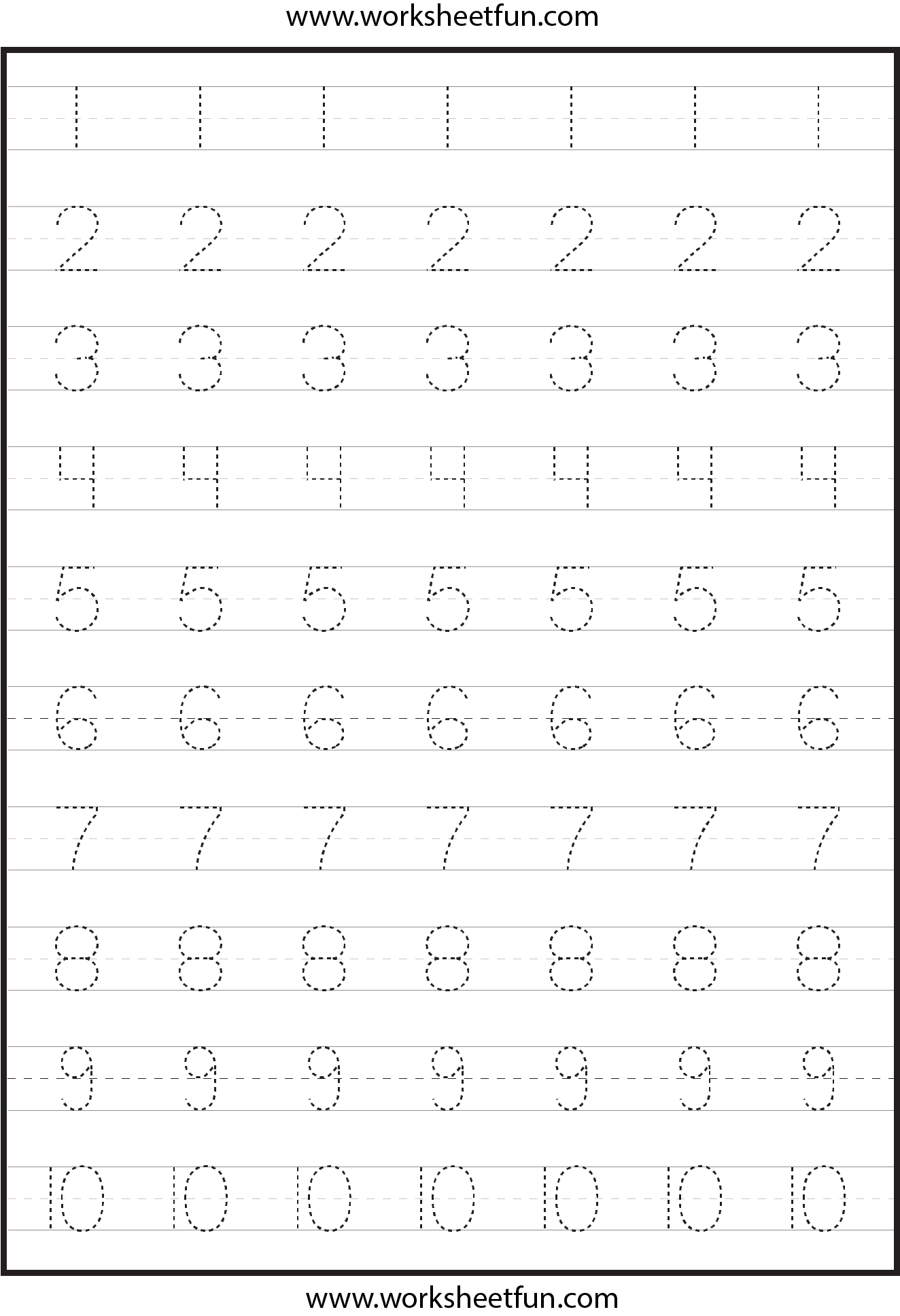Number Tracing Worksheets For Kindergarten 1 10 Ten Worksheets