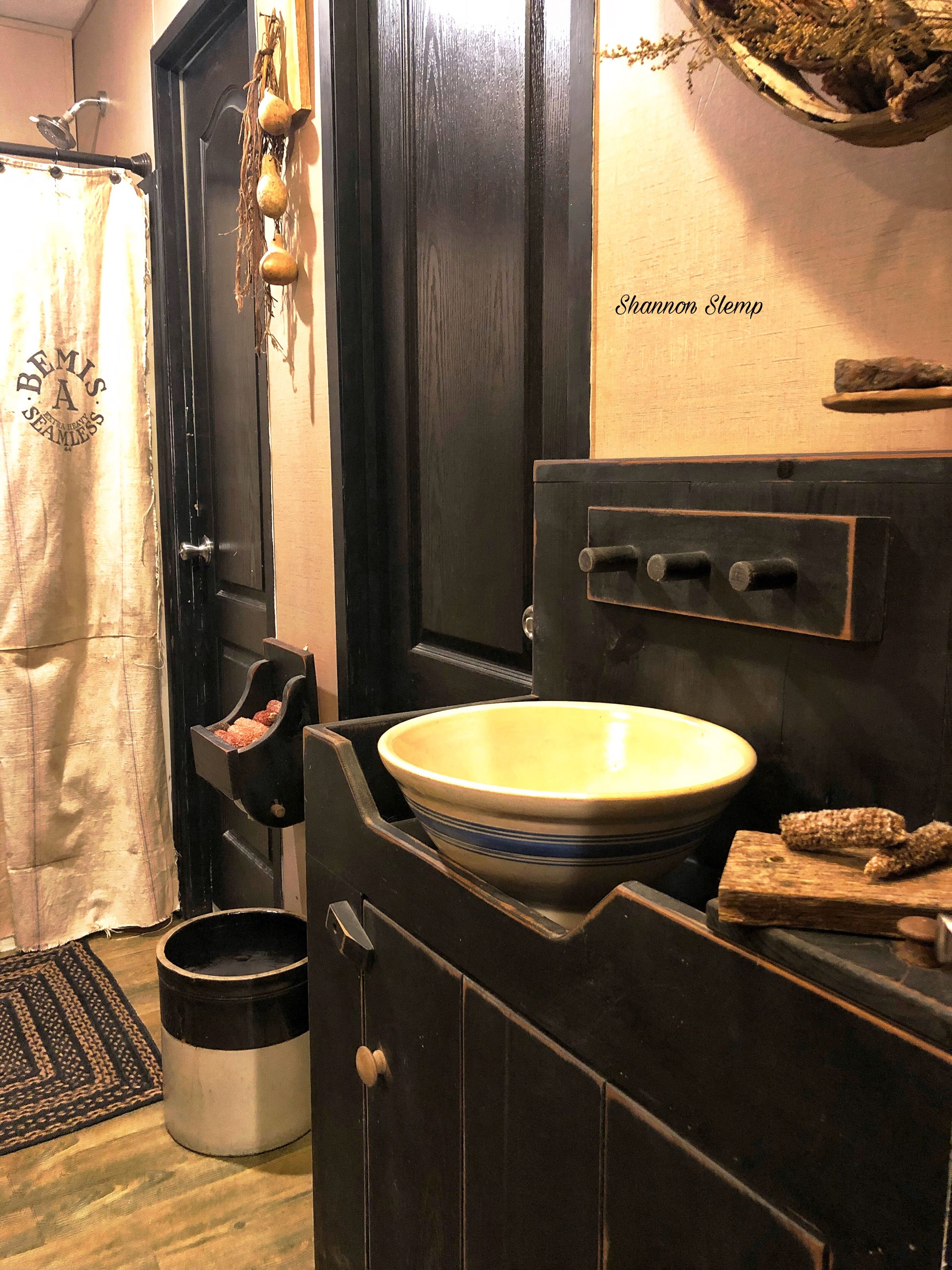 Feedsack Shower Curtain, dry sink, yellow ware, crock ...