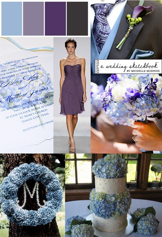 Light Blue Purple Graphite Gray Hydrangea Wedding Inspiration