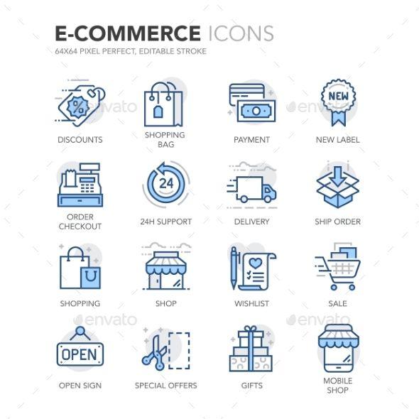 Blue Line E-Commerce Icons. Download here: http://graphicriver.net/item/blue-line-ecommerce-icons/16010917?ref=ksioks