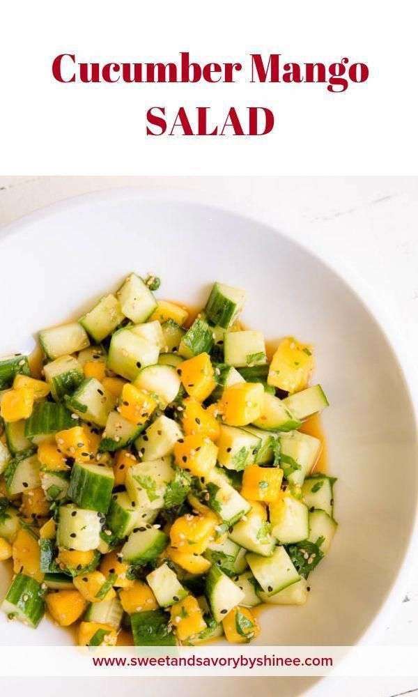 Light and healthy cucumber mango salad with bright asian dressing is quick and easy recipe.